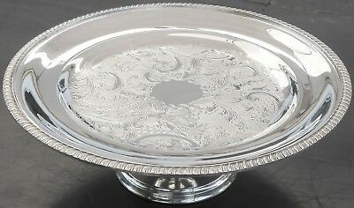 Good Vintage Chased Pedestalled Cake Stand Tazza - Silver Plated Sheffield