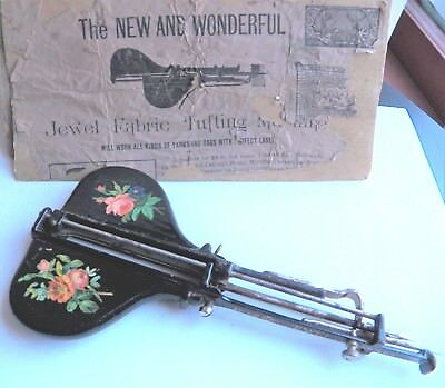 """THE JEWEL FABRIC TUFTING MACHINE ~ Antique Craft Tool 1890s era  """"AS-IS"""""""