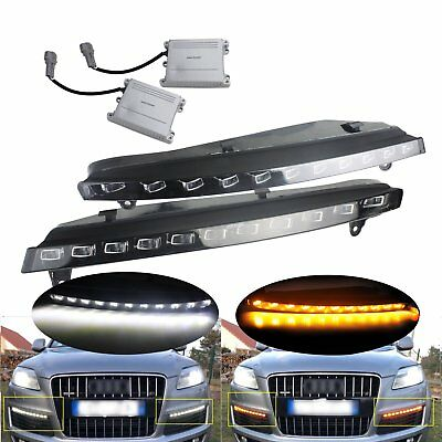 Fit Audi Q7 2007-2009 Updated LED Driving Daytime Running Turn Signal Light Lamp