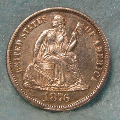 1876 Seated Liberty Silver Dime Nearly NICE BU ~ Super Album Toning! * US Coin