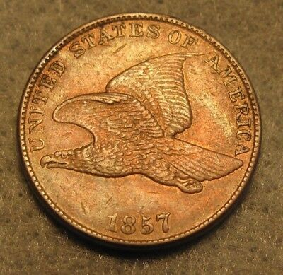 1857 Flying Eagle Penny CHOICE Almost Uncirculated * US Coin