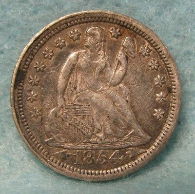 1854 Seated Liberty Silver Dime CHOICE XF+ Details * US Coin *