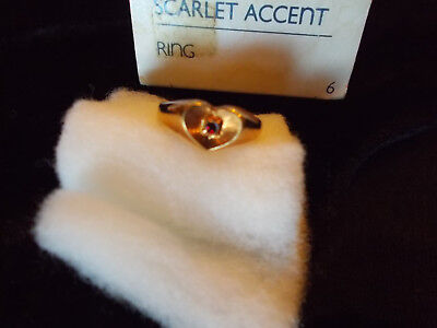 Vintage Avon Women's Ring Heart with Scarlet Accent Gold-tone Size 6 New in Box