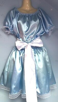 blue satin dress adult baby fetish sissy french maid cosplay  18,20,22 cd tv
