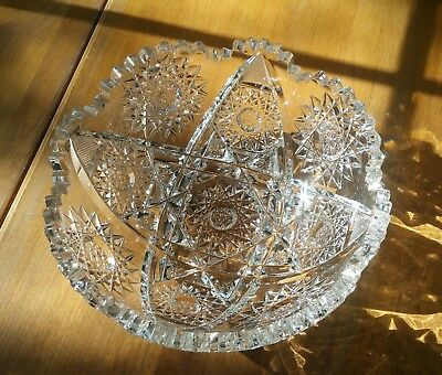 """Cut Glass Antique Scalloped Clear Bowl 8"""""""