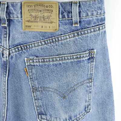 0c2c0d0478e9db Mens Levis 550 Blue Jeans Relaxed Fit Straight 36x30 Actual 34x30 Made in  USA