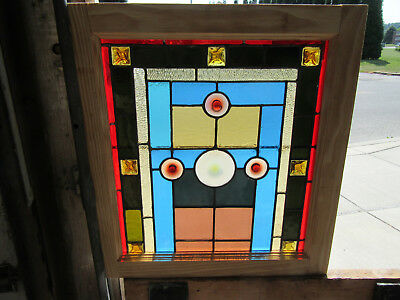 ~ ANTIQUE STAINED GLASS WINDOW ~ 11 JEWELS ~ 22 x 24 ~ 1 OF 2 ~ SALVAGE ~