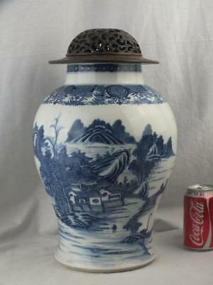 Large 18Th C Chinese Porcelain Blue And White Landscape Vase & Cover