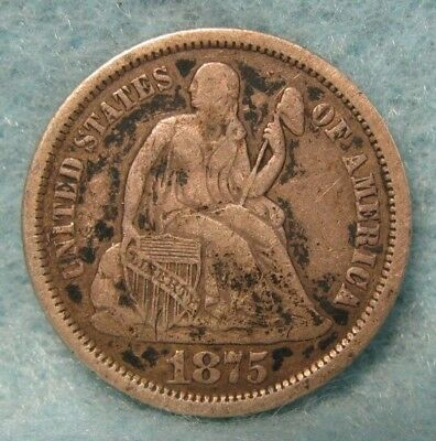 1875-S Below Bow Seated Liberty Silver Dime VF * US Coin *