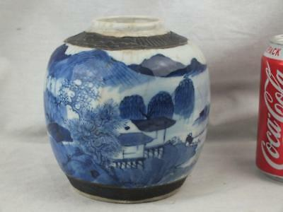 19Th C Chinese Porcelain Blue And White Figures Landscape Jar