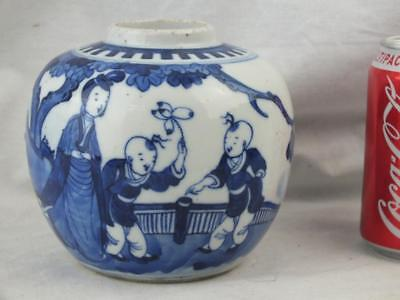 19Th C Chinese Porcelain Blue And White Boys Lady Jar - Circle Marks