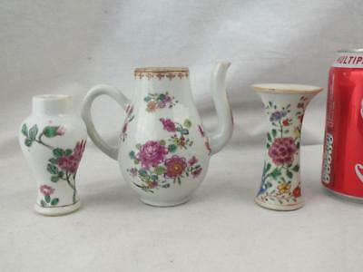 Two Small 18Th C Chinese Porcelain Famille Rose Vases And Coffee Pot