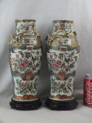 Good Pair 19Th C Chinese Porcelain Canton Famille Rose Vases & Wooden Stands