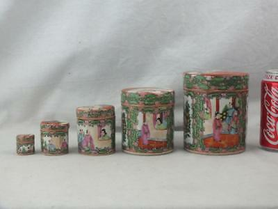 Set Of 5 Antique Chinese Porcelain Canton Famille Rose Graduated Boxes & Covers