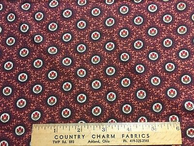"""Antique Cotton Fabric mid 1800s Madder Brown Print 12""""w 21""""L"""