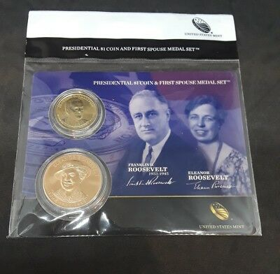 FRANKLIN ROOSEVELT PRESIDENTIAL $1 AND FIRST SPOUSE MEDAL SET, SEALED... b