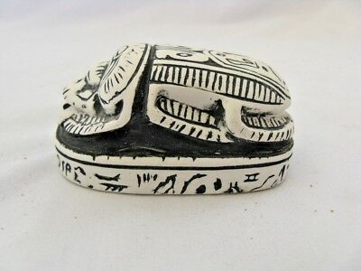 """Egyptian Scarab Stone Resin Symbol Of Luck White Black 2.75"""" Paper Weight"""