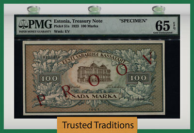 TT PK 51s 1923 ESTONIA TREASURY NOTE SPECIMEN 100 MARKA PMG 65 EPQ GEM UNC!