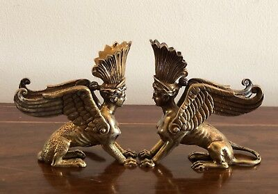 Rare Pair of Solid Sterling Silver Sphinx Sculptures or Figures