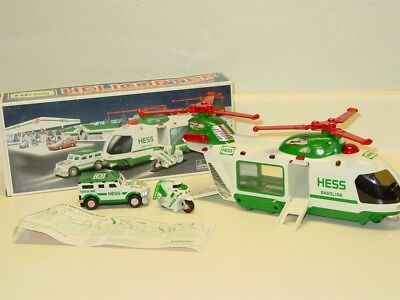 2001 Hess Helicopter w/Motorcycle & Cruiser in Original Box w/Instructions, Toy