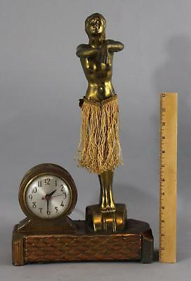 RARE Vintage Synchron Sessions Nude Woman HULA GIRL Novelty Animated Clock
