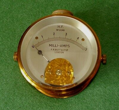 ANTIQUE SCIENTIFIC BRASS MILLIAMPS METER FR BUTT LONDON H.F. No 80411 STEAM PUNK