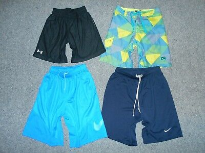 4 Pairs! Nike Under Armour Youth Boys Medium Athletic Shorts Board Shorts Lot A6