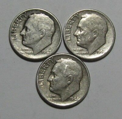1947 D 1948 1948 D Roosevelt Dime - Circulated Condition - 278SU