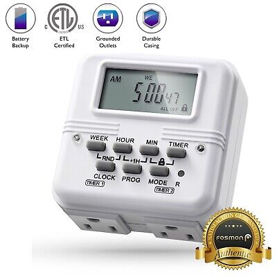 7 Day Heavy Duty Digital Independent Programmable Timer Dual Two Outlet Switch