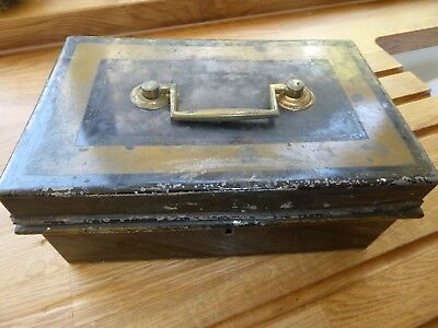 Vintage Old Money box safe box storage metal lockable till ? brass handle