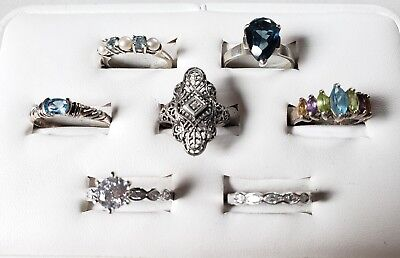 Lot 7 Sterling Silver 925 Vintage Antique Rings Stones Solitaire Signed CNA ALX
