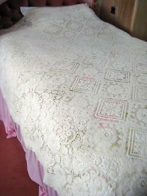 Beautiful Vintage Cream Nottingham Lace Double Bed Cover, Curved Bottom Edge