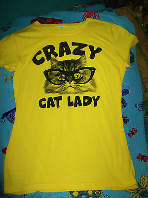 Crazy Cat Lady Yellow Tee Shirt Cat in Glasses Cute Size M/L EUC