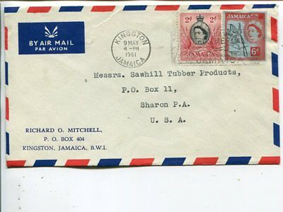 Jamaica stamp and aerogramme cut-out on air mail cover to USA 1961