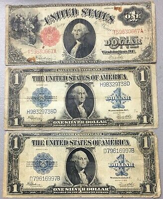 (3) 1917 & 1923 $1 Silver & Red SEAL Notes Nice E-66