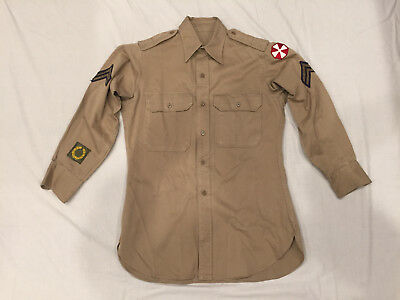 Original Post Wwii Us Army Enlisted Khaki Shirt, Corporal Rank 8Th Army, 16 X 30