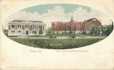 1908 State Normal School and Library, Emporia, Kansas Postcard