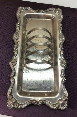 Vintage Silver Plate English Toast Rack Holder with Crumb Tray Etched  #B275