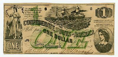1862 T-45 $1 The Confederate States of America Note - CIVIL WAR Era