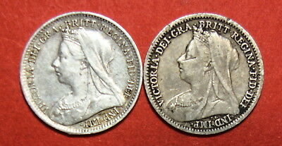 Great Britain : Threepence X 2.   1900 & 1901.  Victoria .  0.925 Silver