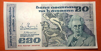 Ireland: Irish Twenty  Pound Note Dated 20.9.1990 . William Butler Yeats