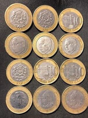 Old Morocco Coin Lot - 12 UNCOMMON Bi-Metal Coins - 10 Dirham - Lot #717