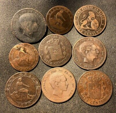 Old Spain Coin Lot - 1870-1879 - 9 Vintage Bronze Coins - Lot #717