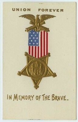 """Union Forever """"In Memory of the Brave"""" c1910 Embossed Patriotic Postcard"""
