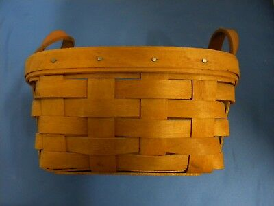 Vintage 1994 Longaberger Basket With Two Leather Handles
