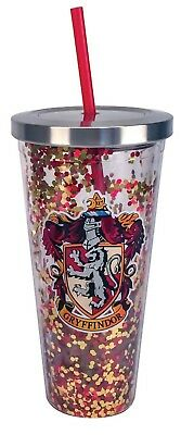 Harry Potter Gryffindor Red Gold Glitter 20 oz Acrylic Double Walled Tumbler Cup