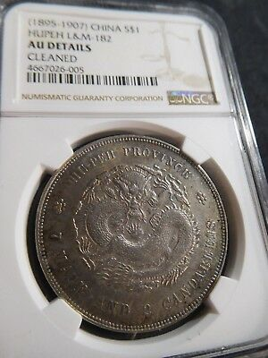 L35 China Hupeh 1895-1907 Silver Dollar L&M-182 NGC AU Details cleaned