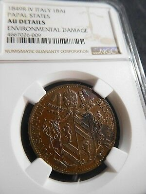 L38 Italy Papal States 1849-R, IV Baiocco NGC AU Details environmental damage
