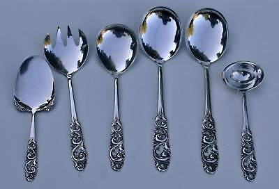 MYLIUS BRØDRENE 830S 'TELE' Pattern 6 pcs Serving Spoons & Fork NORWEGIAN NORWAY