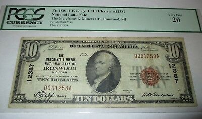 $10 1929 Ironwood Michigan MI National Currency Bank Note Bill Ch. #12387 VF!